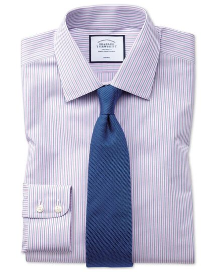 Extra slim fit non-iron lilac and blue multi stripe shirt