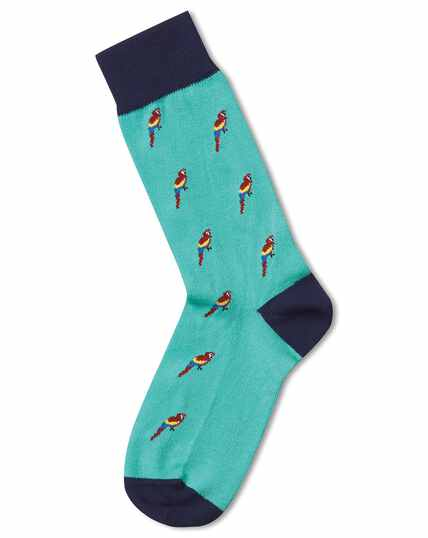 Mint parrot motif socks