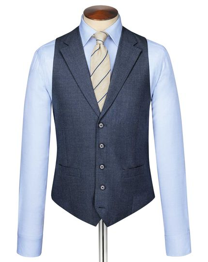 Airforce blue puppytooth Panama business suit waistcoat