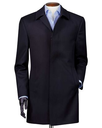 Navy twill weatherproof wool car coat
