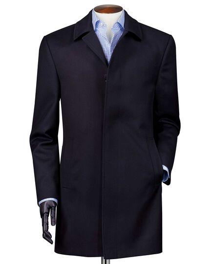Manteau bleu marine en sergé de laine imperméable