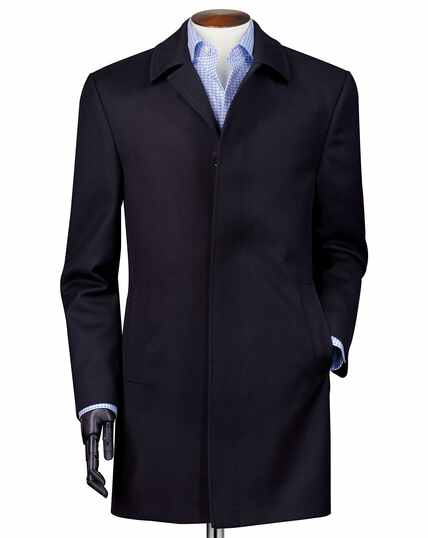 Navy twill weatherproof wool car coat