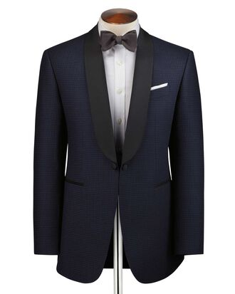 Navy and blue slim fit shawl collar tuxedo suit