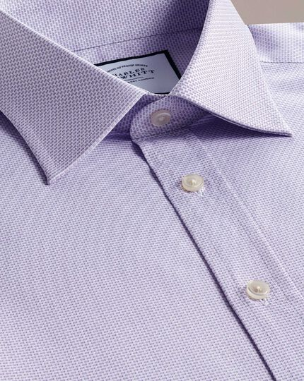 Slim fit lilac cube weave Egyptian cotton shirt
