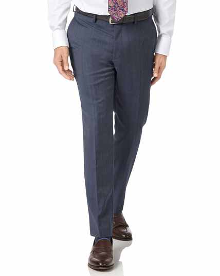 Light blue slim fit twill business suit trousers