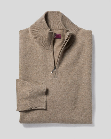 Cashmere Zip Neck Jumper - Mocha