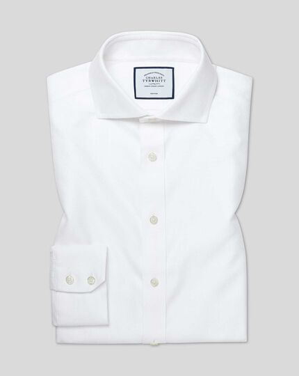 Cutaway Collar Non-Iron Buckingham Weave Shirt - White