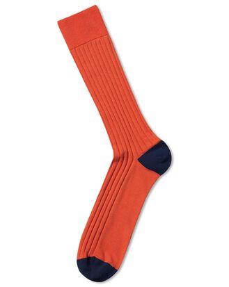 Orange cotton rib socks