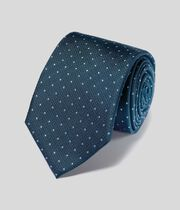 Stain Resistant Silk Textured Spot Classic Tie - Petrol & Sky