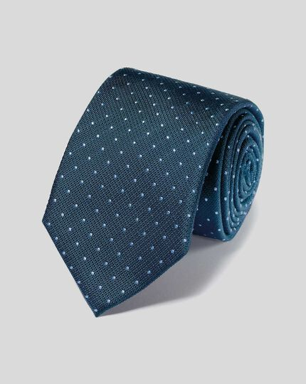 Stain Resistant Silk Textured Spot Tie - Petrol & Sky