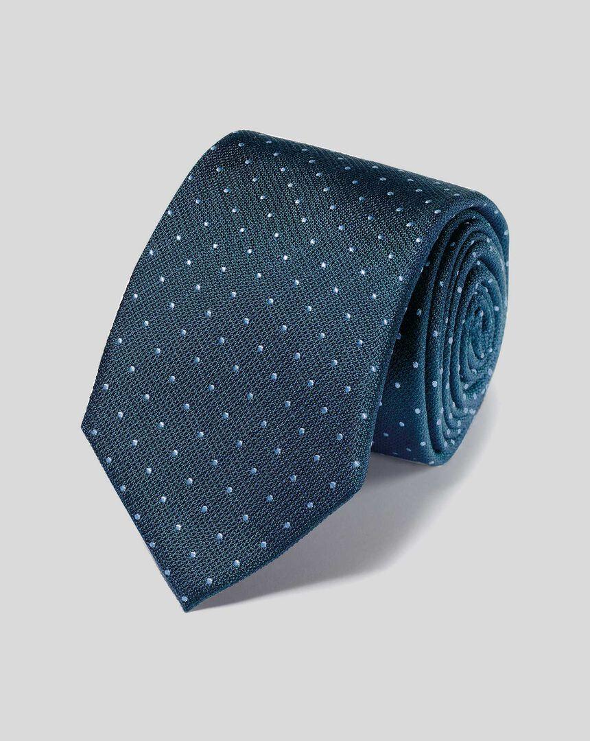 Schmutzabweisende Krawatte aus Seide mit Strukturgewebe und Punkten - Petrolblau & Himmelblau
