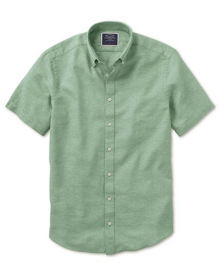 Classic fit green cotton linen twill short sleeve shirt