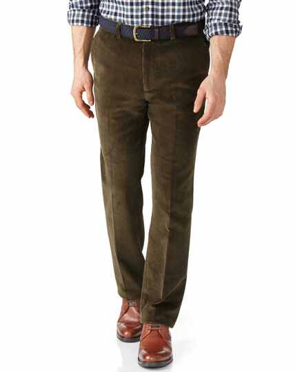 Pantalon olive en velours à côtes larges slim fit