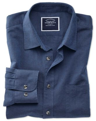 Slim fit cotton linen navy plain shirt