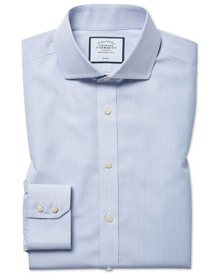 Classic fit non-iron cutaway blue stripe Tyrwhitt Cool shirt