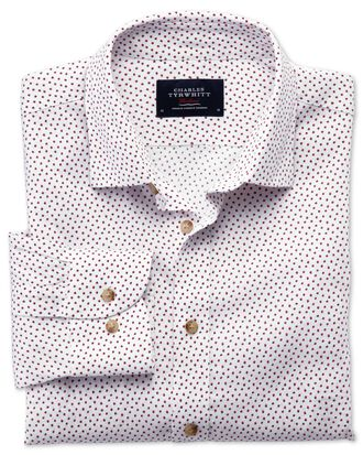 Extra slim fit white and pink square print shirt