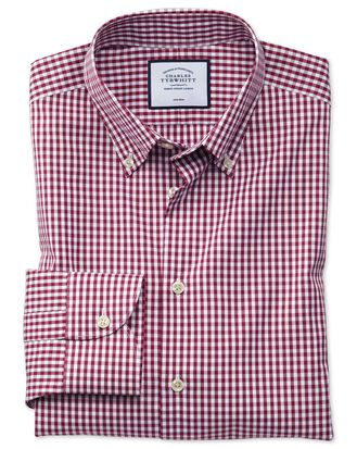 Classic fit business casual non-iron button-down berry check shirt