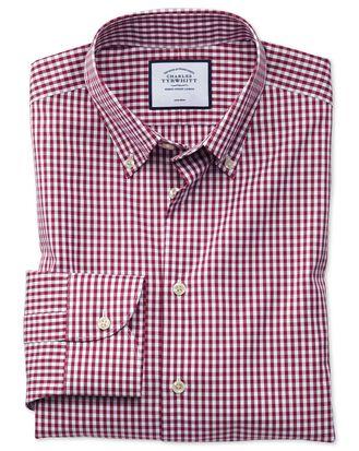 Bügelfreies Extra Slim Fit Business-Casual-Hemd mit Button-down-Kragen und Karomuster in Beerenrot