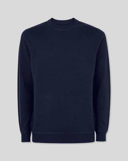 Merino Cashmere Crew Neck Sweater - Navy