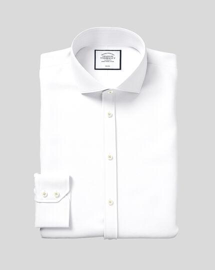 Extra slim fit cutaway non-iron herringbone white shirt