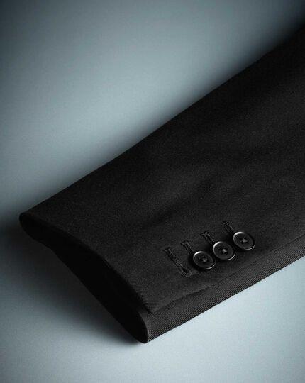 Black slim fit twill peak lapel business suit jacket