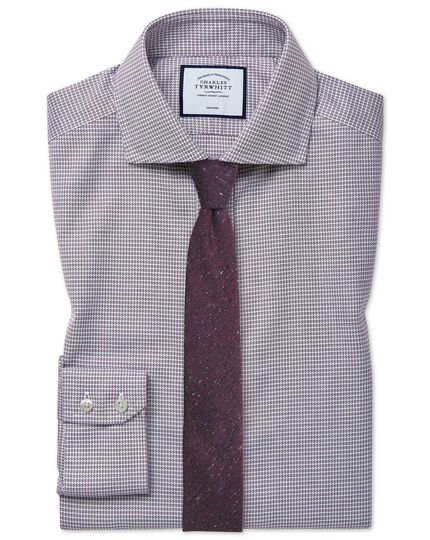 Extra slim fit cutaway non-iron cotton stretch berry shirt