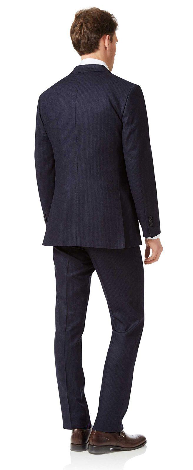 Costume business bleu marine en flanelle slim fit à rayures