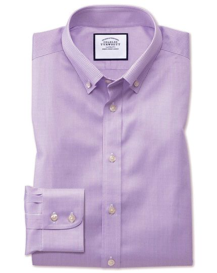 Chemise lilas pied-de-poule en twill extra slim fit à col boutonné sans repassage