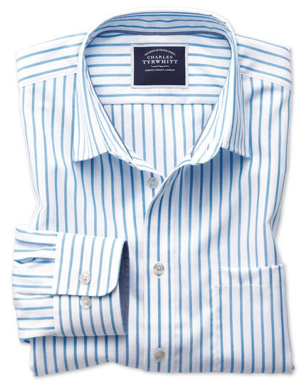 Slim fit non-iron Oxford white and blue stripe shirt