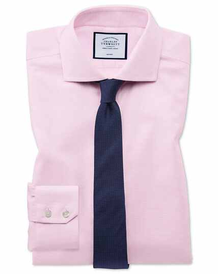 Super slim fit non-iron cotton stretch Oxford pink shirt