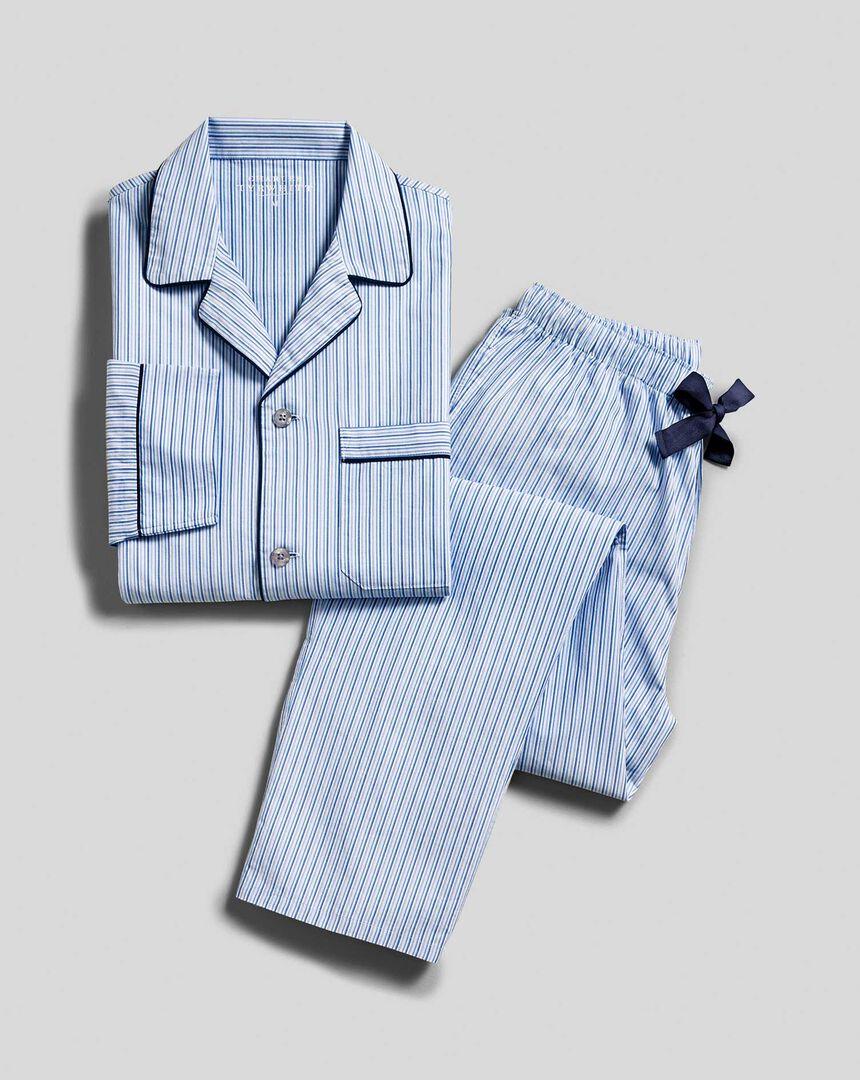 Schlafanzug mit Streifen - Himmelblau & Marineblau
