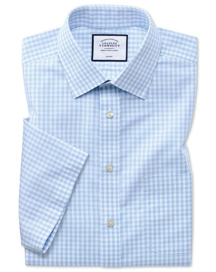 Slim fit non-iron Tyrwhitt Cool poplin short sleeve sky blue check shirt