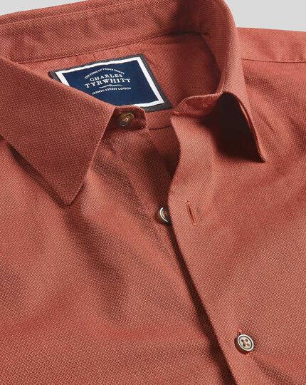 Classic Collar Textured Shirt - Orange