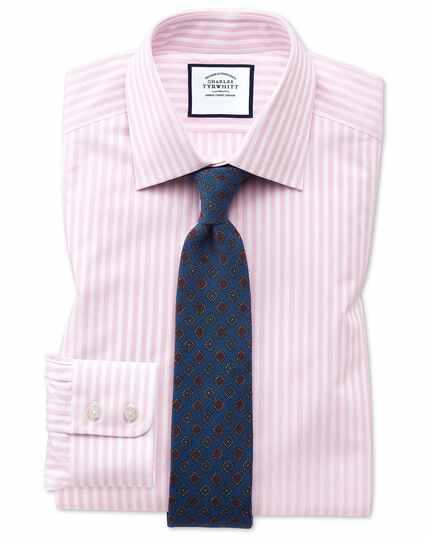Chemise dobby à rayures texturées - Rose et blanc