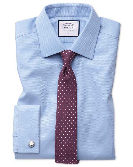 Chemise bleu ciel avec armure à chevrons super slim fit sans repassage