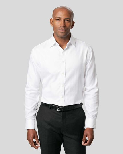 Semi-Cutaway Collar Egyptian Cotton Herringbone Shirt - White