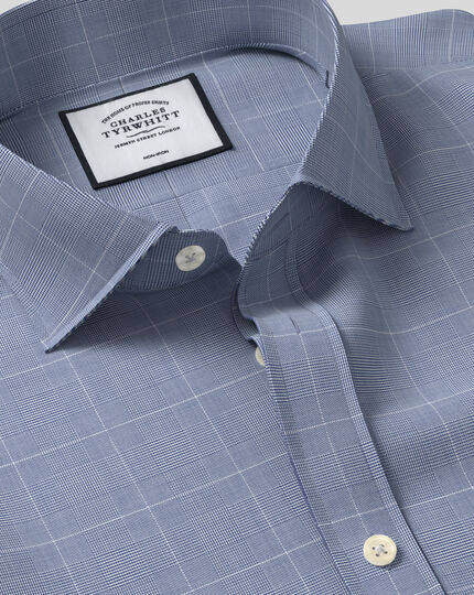 Cutaway Collar Non-Iron Cotton with TENCEL™ x REFIBRA™ Check Shirt - Navy