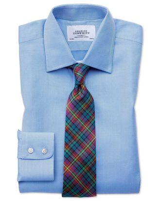Classic Fit Hemd aus ägyptischer Baumwolle und Cavalry-Twill in Blau