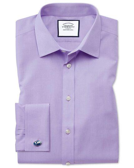 Slim fit non-iron poplin lilac shirt
