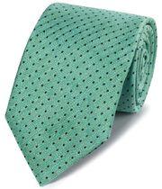 Green linen silk spot classic tie