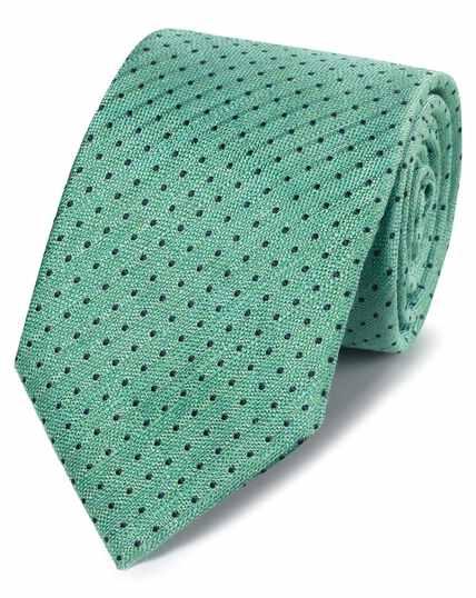 Klassische Krawatte Leinen/Seide mit Punkten in Grün