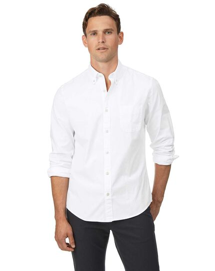 Slim fit button-down washed Oxford white shirt