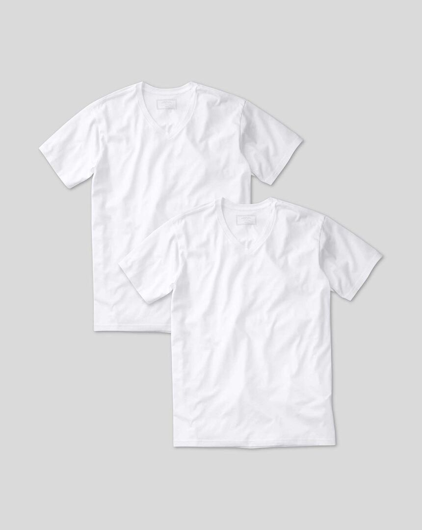 2 Pack V-neck Undershirt T-shirt  - White