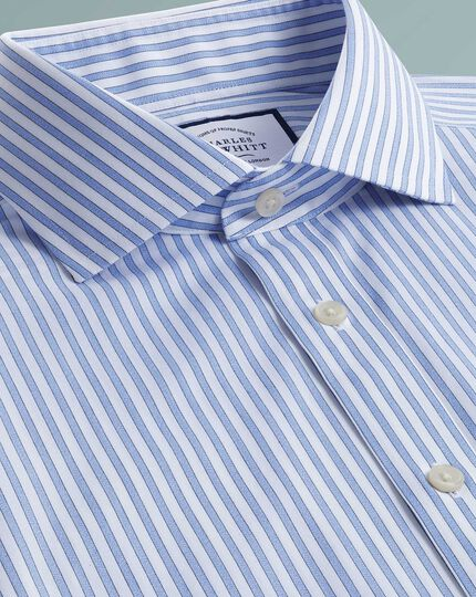 Extra slim fit non-iron shadow stripe sky blue shirt