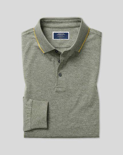 Cotton TENCEL™ Mix Long Sleeve Pique Polo - Green