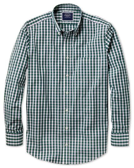 Slim fit non-iron green and navy tartan check shirt