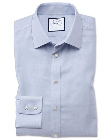 Extra slim fit non-iron step weave mid blue shirt