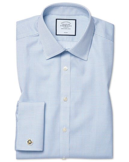 Super slim fit non-iron sky blue mini grid check shirt
