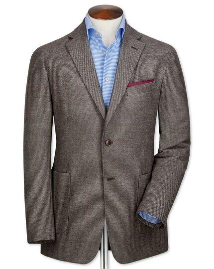 Slim fit brown semi-plain cotton flannel jacket