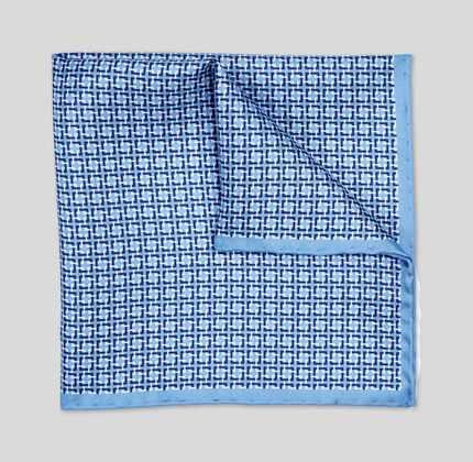 Geometric Print Pocket Square - Sky